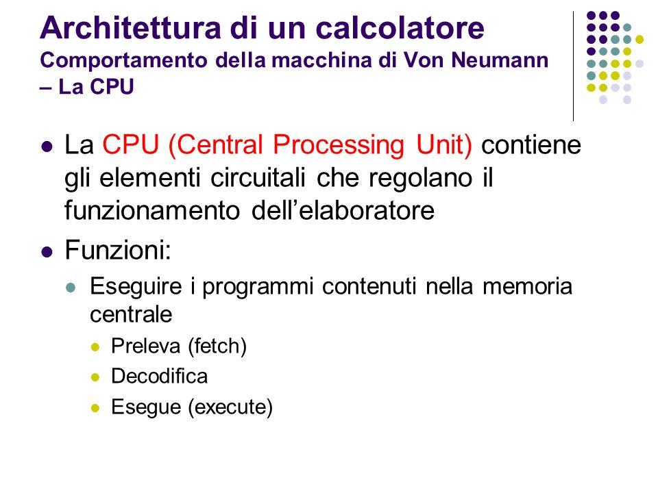 Architettura di un calcolatore Comportamento della macchina di Von Neumann – La CPU La CPU è composta da: Unità di controllo (CU = Control Unit) Orologio di sistema (clock) Unità aritmetico logica (ALU = Arithmetic and Logic Unit) Registri ALU CU clock registri CPU