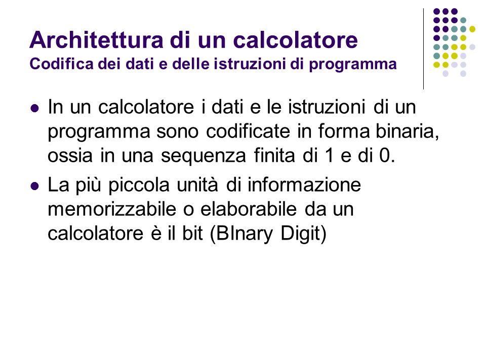 Bit (0,1) Le componenti di un calcolatore sono formate da dispositivi fisici che possono trovarsi in 2 stati (acceso, spento) Un bit corrisponde ad uno stato di un dispositivo fisico: Acceso = 1 Spento = 0 Architettura di un calcolatore Codifica dei dati e delle istruzioni di programma