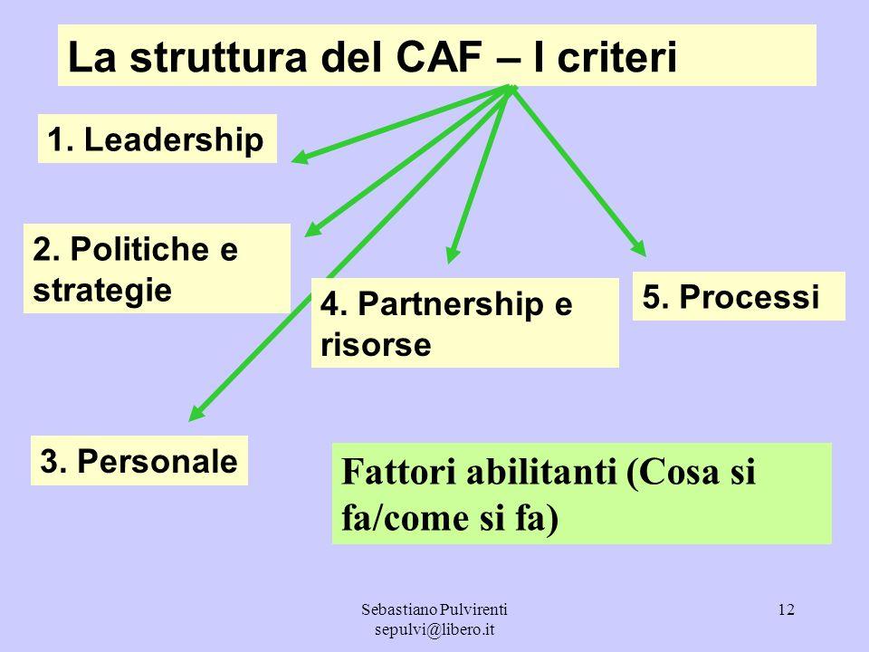 Sebastiano Pulvirenti sepulvi@libero.it 13 La struttura del CAF – I criteri 6.
