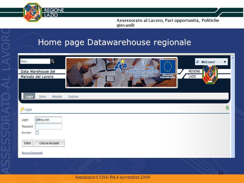 Lesplorazione del Datawarehouse Assessorato al Lavoro, Pari opportunità, Politiche giovanili 11 Seminario COM- PA 4 novembre 2009