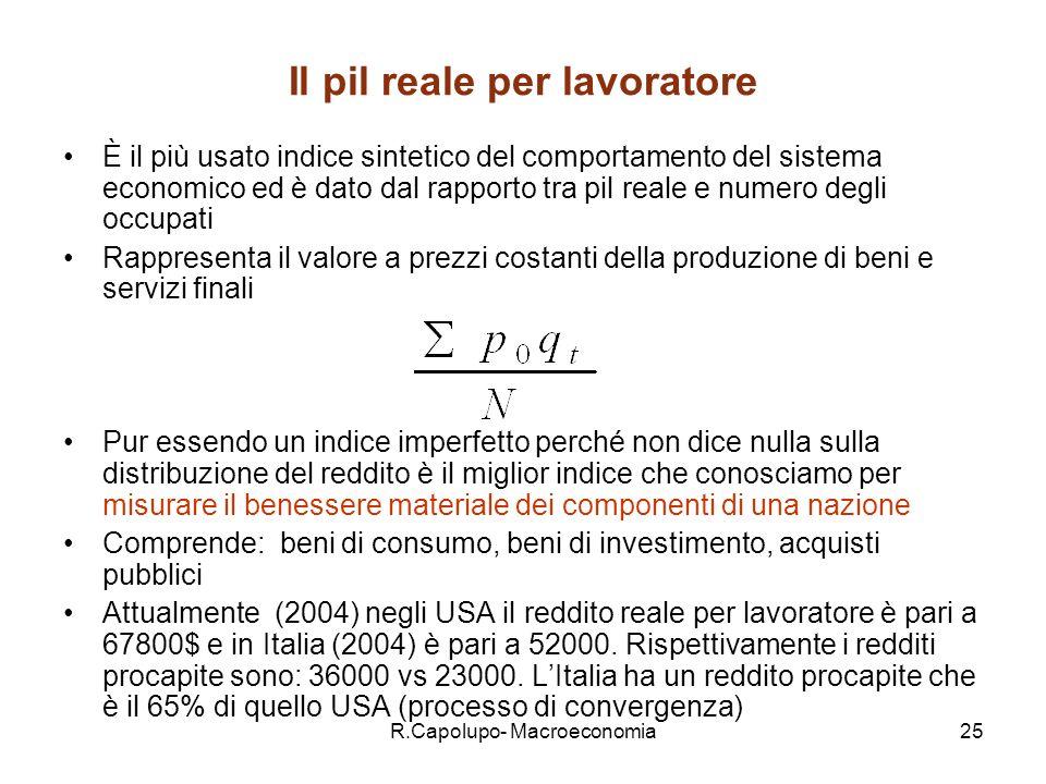 R.Capolupo- Macroeconomia26 Deflatore del PIL Il deflatore del PIL è calcolato come: Il PIL nominale si converte in PIL reale utilizzando seguente : Il pil nominale =pil reale x deflatore