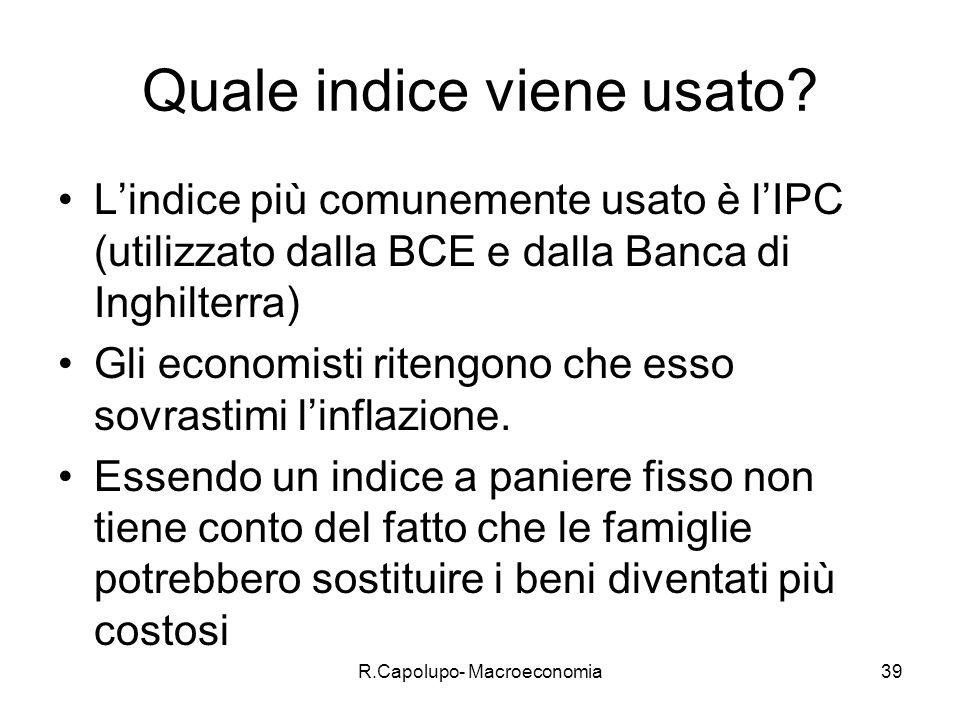 R.Capolupo- Macroeconomia40 Perché preoccuparsi dellinflazione.