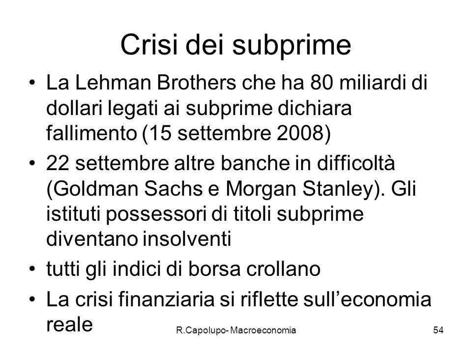 R.Capolupo- Macroeconomia55 Tasso di cambio La sesta e ultima grandezza è il tasso di cambio.