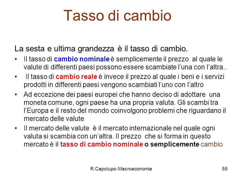 R.Capolupo- Macroeconomia56 Tasso di cambio (2) E molto importante definire con precisione il tasso di cambio.