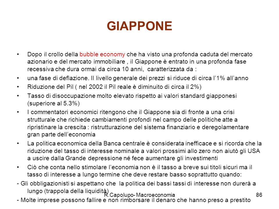 R.Capolupo- Macroeconomia87 Variabili chiave Giappone 1960- 2000 1992- 2000 2000200120022006 Growth rate 5.51.21.5-0.7-1.2+2.5 U rate2.03.04.75.05.54.3 Inflation rate 4.5-0.1-1.6 -1.4+0.9