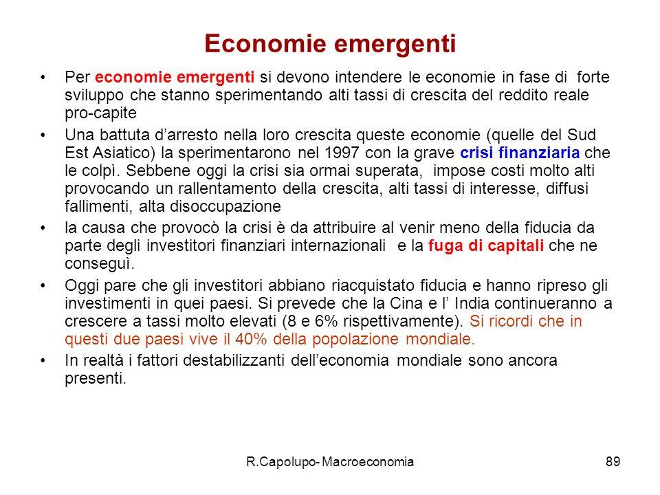 R.Capolupo- Macroeconomia90 Asian economies (data from The Economist november 2006) %change GDPinflationTrade balanceForeign reserve($bn) CHINA+11.3+1.3+143.6954.5 Hong Kong+5.2+2.5-14.9130.3 India+8.9+6.3-41.8158.3 Malaysia+5.9+3.3+28.079.0 Pakistan+6.6+8.9-12.611.3 Singapore+7.1+0.7+32.6129.4 Philippines+5.5+5.7-4.118.8 South Korea+5.3+2.4+15.7227.0 Taiwan+4.6-1.2+20.3261.6 Indonesia+5.2+14.5+36.440.8