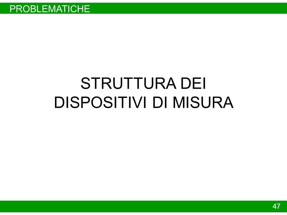 STRUTTURA DI UN DISPOSITIVO DI MISURA STRUMENTAZIONE 48 DISPOSITIVO DI MISURA - SENSORE DELLA GRANDEZZA CHE CARATTERIZZA LA VARIABILE CONTROLLATA - DISPOSITIVO MECCANICO E/O ELETTRONICO CHE AMPLIFICA ED ELABORA LA VARIABILE DI USCITA DAL SENSORE - DISPOSITIVO CHE CONVERTE IL VALORE ELABORATO DAL PRECEDENTE DISPOSITIVO IN MODO DA RENDERLO COMPATIBILE CON LO STANDARD DI COMUNICAZIONE PRESCELTO RETE DI COMUNICAZIONE - PNEUMATICA PRESSIONE VARIABILE FRA 3 E 15 PSI - ANALOGICA CORRENTE CONTINUA VARIABILE FRA 4 E 20 MA - SMART ANALOGICA IN CORRENTE CONTINUA CON SOVRAPPOSTA TRASMISSIONE DIGITALE SECONDO MODALITÀ DI TIPO PROPRIETARIO ( HART, INTERSOR, DXR 275) - BUS DI CAMPO TRASMISSIONE DIGITALE SECONDO PROTOCOLLI PROPRIETARI O FISSATI DA NORME INTERNAZIONALI -WIRELESS STRUMENTAZIONE