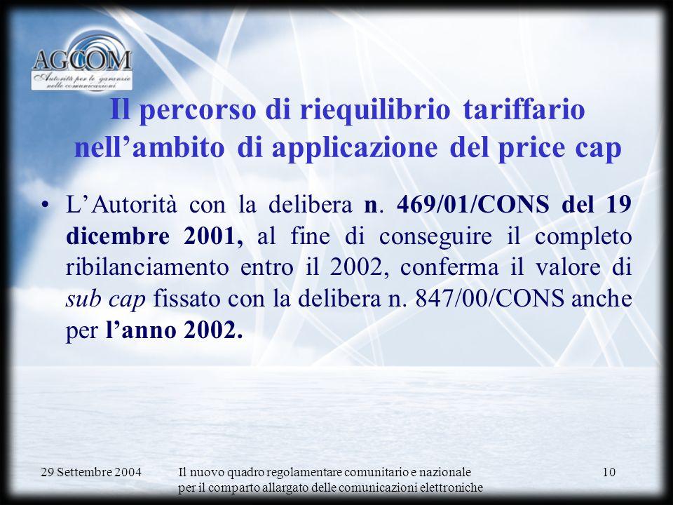 29 Settembre 2004 Il nuovo quadro regolamentare comunitario e nazionale per il comparto allargato delle comunicazioni elettroniche 11 Price cap 2003-2006: delibera n.