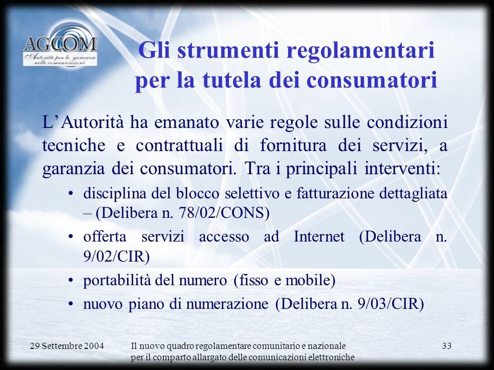 29 Settembre 2004 Il nuovo quadro regolamentare comunitario e nazionale per il comparto allargato delle comunicazioni elettroniche 34 Tutela dei consumatori in sede precontenziosa e paragiurisdizionale 1)Procedure per conciliazione e la risoluzione delle controversie operatori-utenti (Delibere 182/02/CONS e 307/03/CONS) Attività di gestione reclami (a cura dellUnità Gestione Segnalazioni)