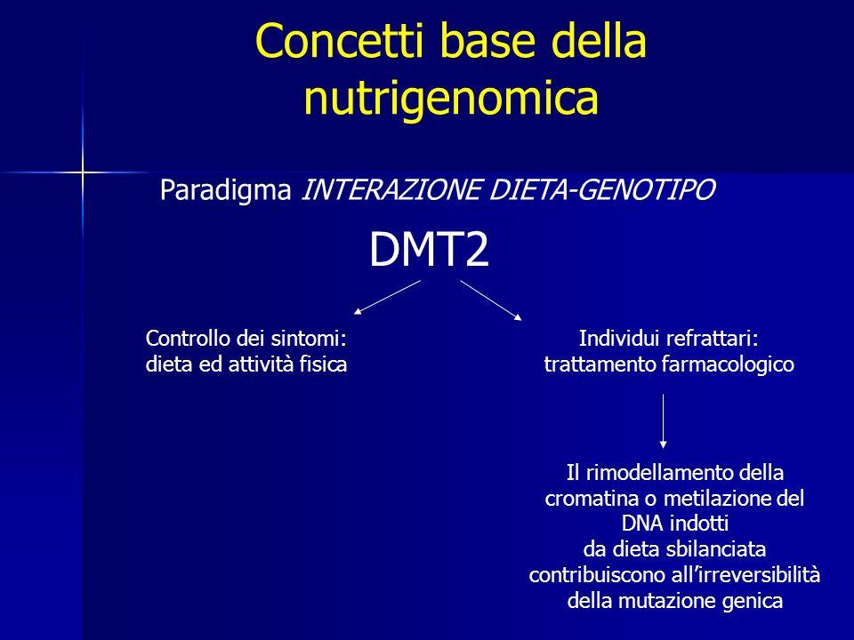 Concetti base della nutrigenomica TARGET IDENTIFICARE I GENI DELLE MALATTIE CRONICHE APPROCCIO GENETICO DIFFICOLTA Popolazioni campionabili limitate Gruppi di controllo campionati in modo insufficiente Stratificazione della popolazione