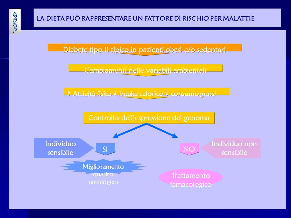 INTERAZIONE TRA NUTRIZIONE E GENOMA ESPRESSIONE DEI GENI & RISPOSTE METABOLICHE ESPRESSIONE DEI GENI & RISPOSTE METABOLICHE Stato di salute/malattia Intake dietetico Fattori ambientali Fattori ambientali Genoma Fabbisogni nutrizionali
