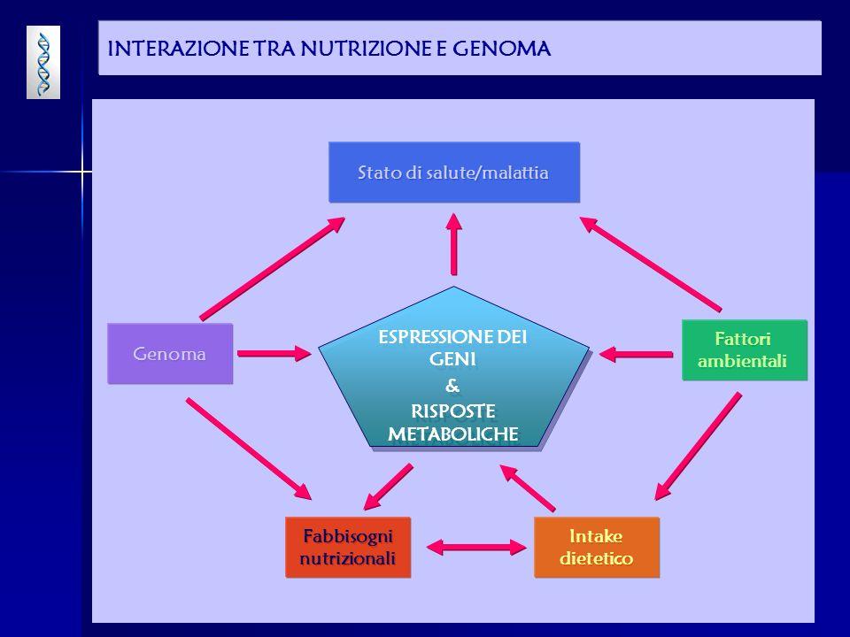 CONCLUSIONI Variazioni genetiche individuali possono influenzare il modo con cui un nutriente può essere assimilato, metabolizzato, conservato ed escreto.