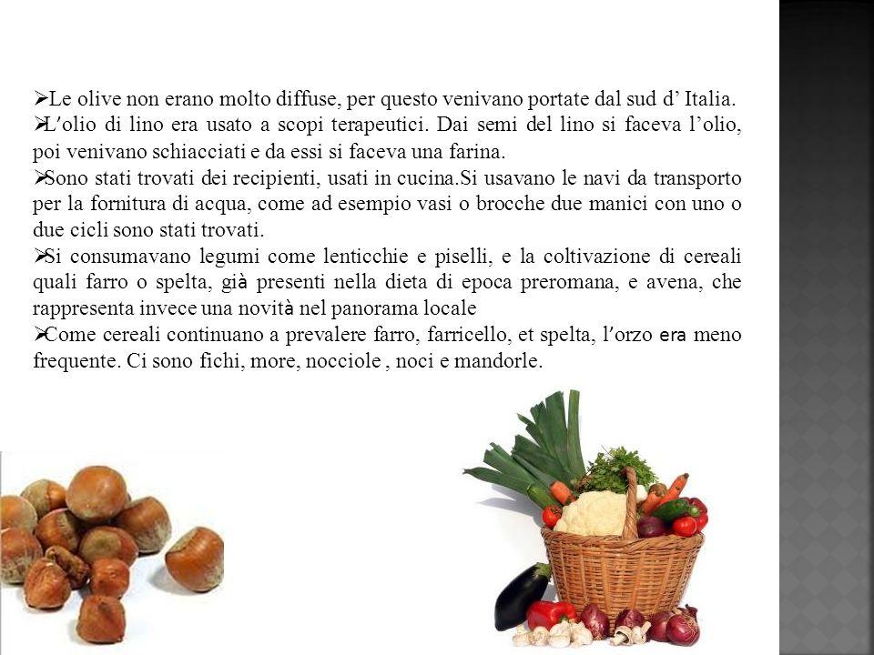 Il cibo era semplice e sostanzioso: farinate, focacce, zuppe, legumi ed ortaggi affiancati da latticini e fruita e, quando possibile carne.