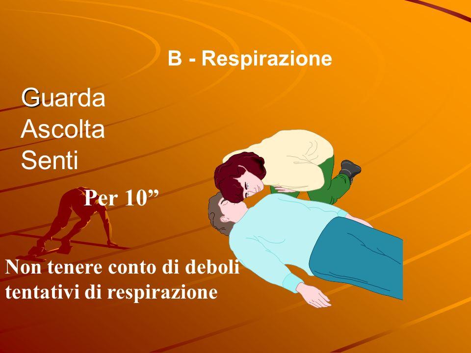 B - Respirazione G Guarda Ascolta Senti Per 10 Non tenere conto di deboli tentativi di respirazione