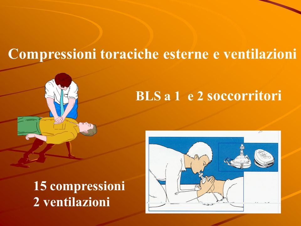 Compressioni toraciche esterne e ventilazioni 15 compressioni 2 ventilazioni BLS a 1 e 2 soccorritori