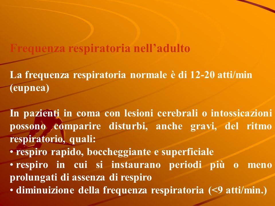 Frequenza respiratoria nelladulto La frequenza respiratoria normale è di 12-20 atti/min (eupnea) In pazienti in coma con lesioni cerebrali o intossicazioni possono comparire disturbi, anche gravi, del ritmo respiratorio, quali: respiro rapido, boccheggiante e superficiale respiro in cui si instaurano periodi più o meno prolungati di assenza di respiro diminuizione della frequenza respiratoria (<9 atti/min.)