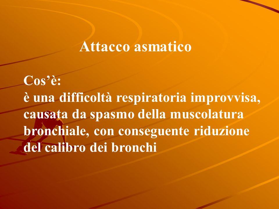 Attacco asmatico Cosè: è una difficoltà respiratoria improvvisa, causata da spasmo della muscolatura bronchiale, con conseguente riduzione del calibro dei bronchi