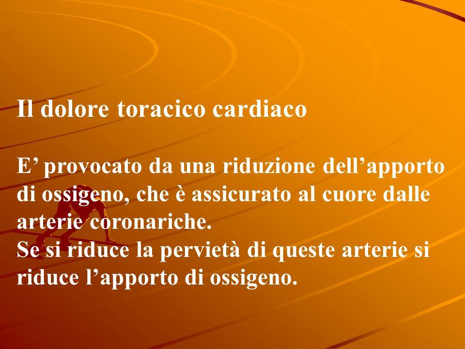 Il dolore toracico cardiaco E provocato da una riduzione dellapporto di ossigeno, che è assicurato al cuore dalle arterie coronariche.