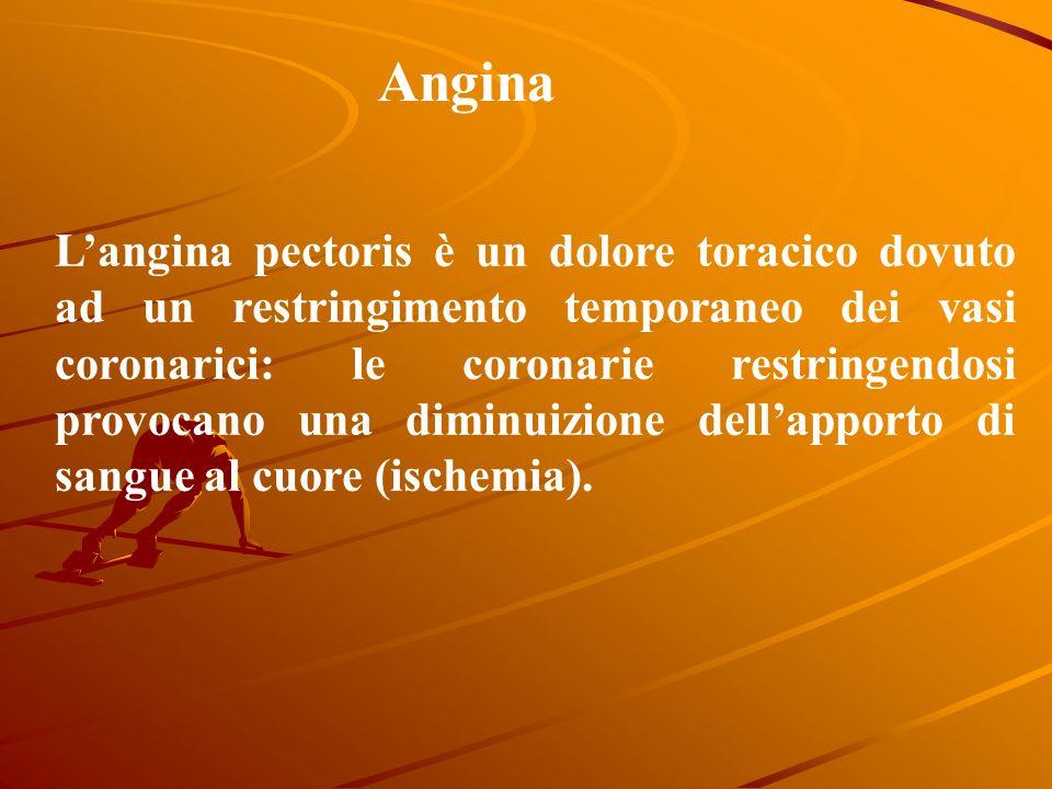 Angina Langina pectoris è un dolore toracico dovuto ad un restringimento temporaneo dei vasi coronarici: le coronarie restringendosi provocano una diminuizione dellapporto di sangue al cuore (ischemia).
