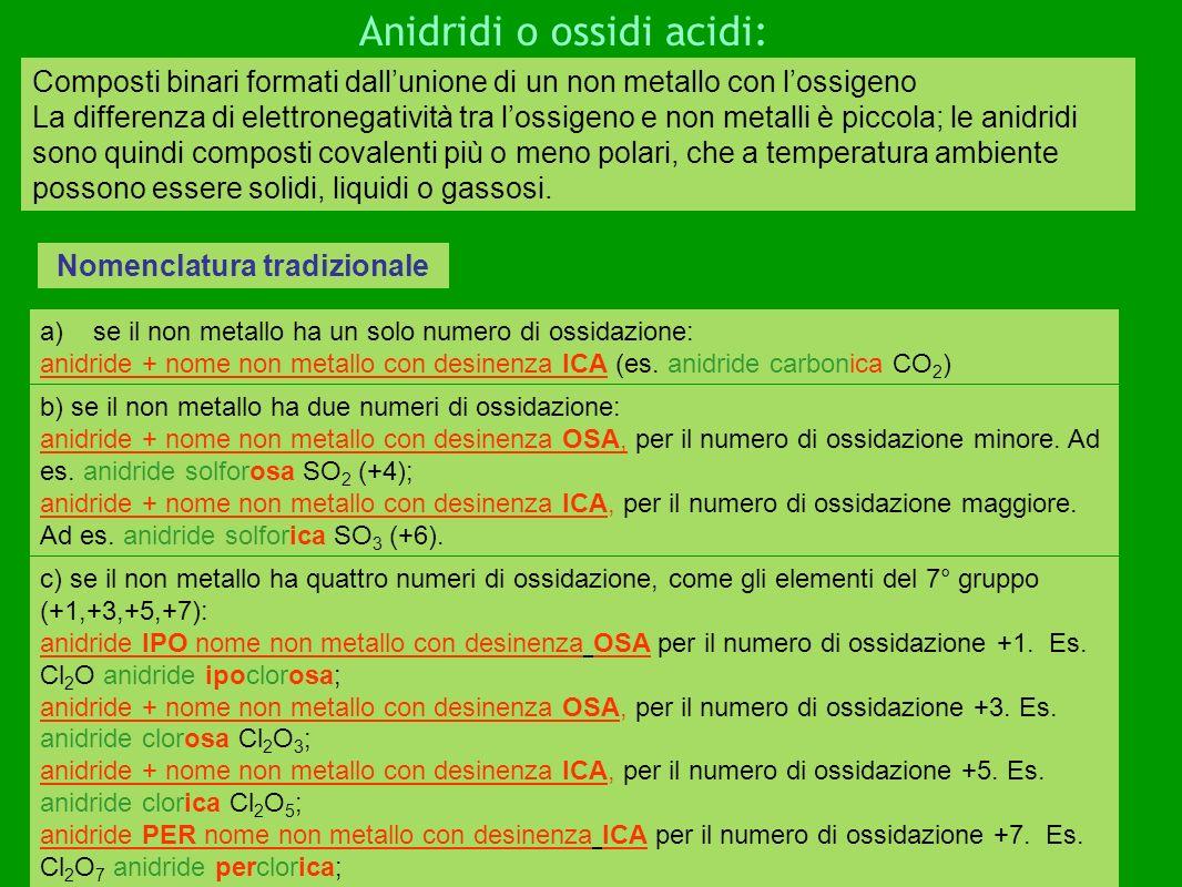 Nomenclatura ufficiale Anche i composti tra ossigeno e non metalli sono chiamati ossidi; si utilizzano sempre i prefissi relativi al numero di atomi degli elementi.