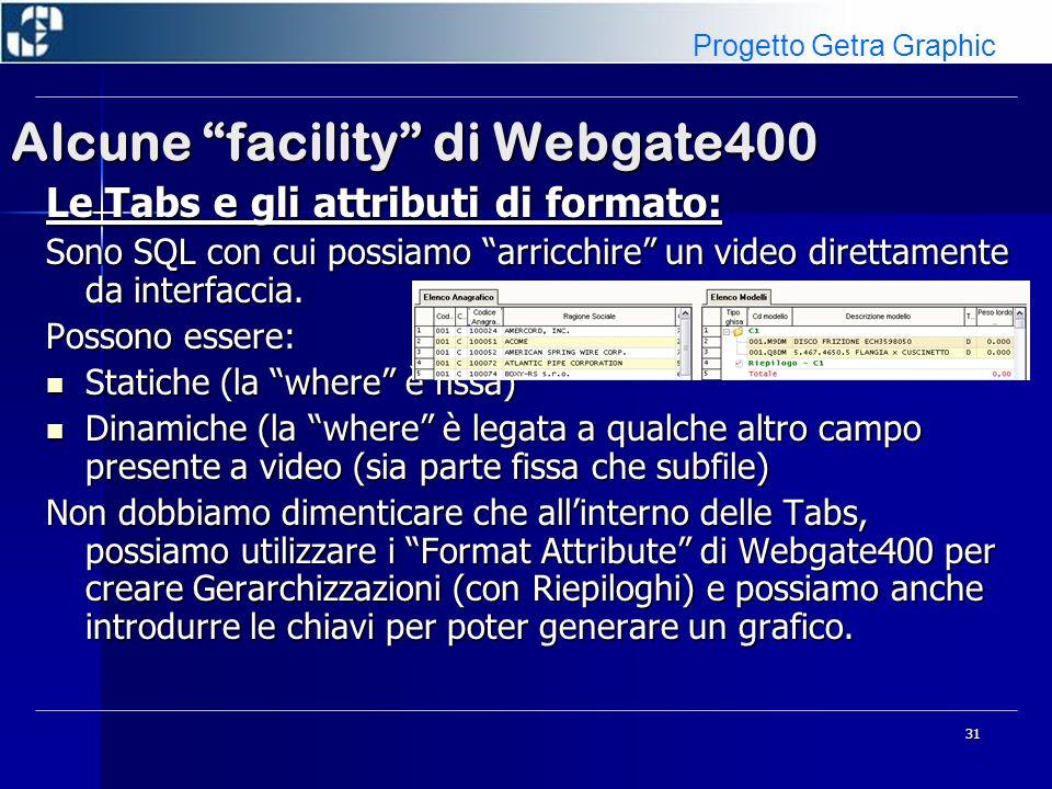 32 Alcune facility di Webgate400 Le Tabs e gli attributi di formato: Il programma CWG002 altro non è che un video vuoto (lato codice, solo EXFMT), e attraverso questa Tabs diventa qualcosa di fruibile Progetto Getra Graphic