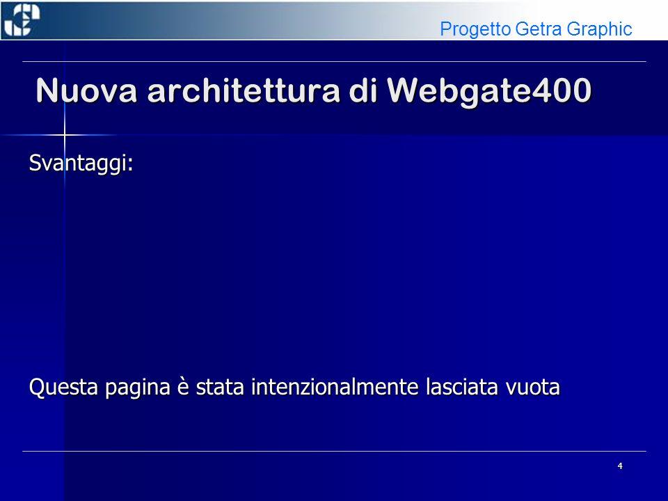 5 Nuova architettura di Webgate400 Attivazione: Agendo sul file WG4SYSFD/ODAZI (record EDM/999999) Agendo sul file WG4SYSFD/ODAZI (record EDM/999999) Da Gestione Ambienti On Demand Da Gestione Ambienti On Demand Progetto Getra Graphic