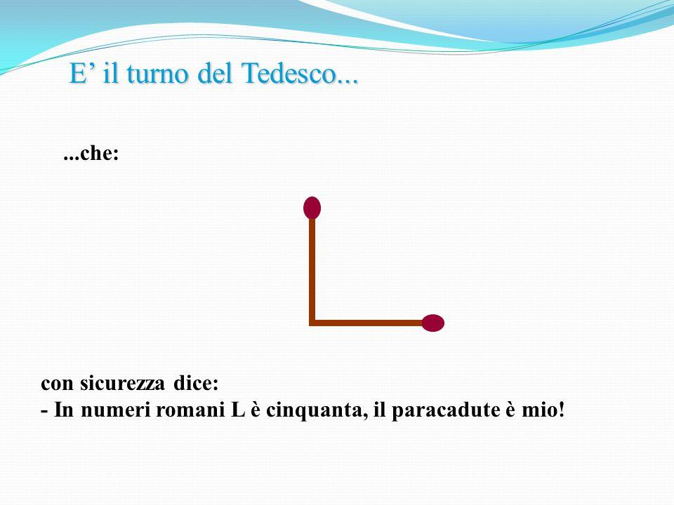 Nel momento in cui il Tedesco canta vittoria, lItaliano si alza e fa lazione seguente : Poi dice: - Dammi il paracadute,....