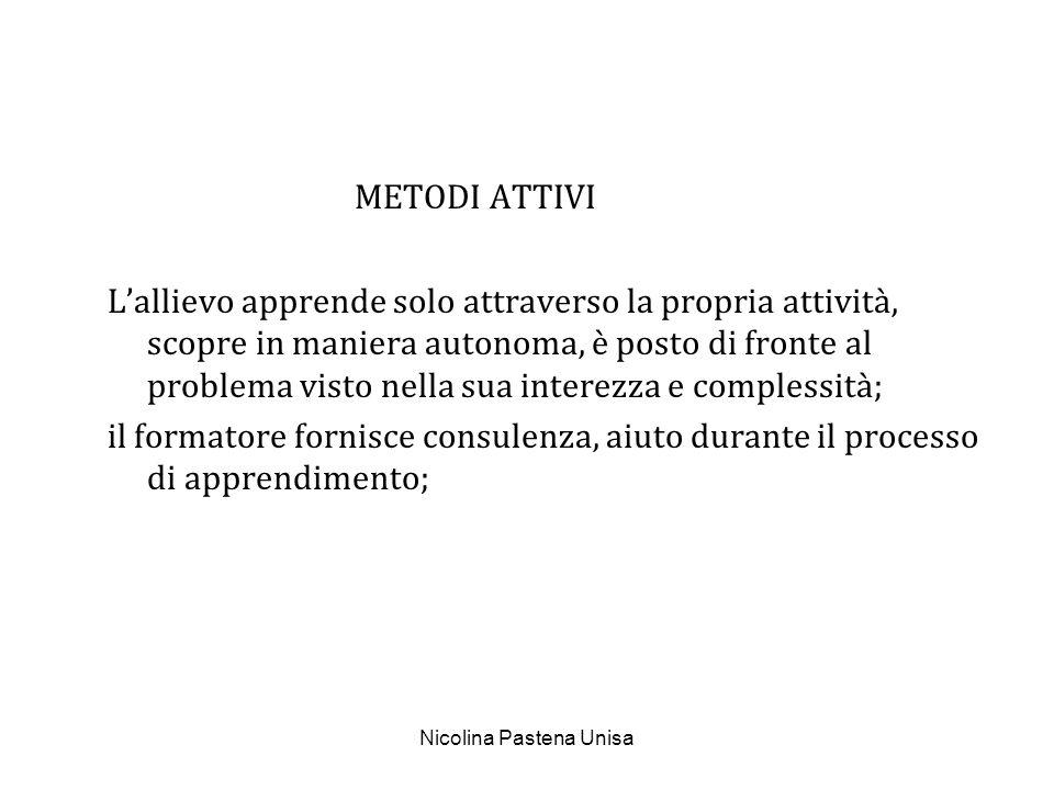 Nicolina Pastena Unisa METODI PERMISSIVI Il formatore non interviene direttamente, ma mette a disposizione materiali (cassette, cd...