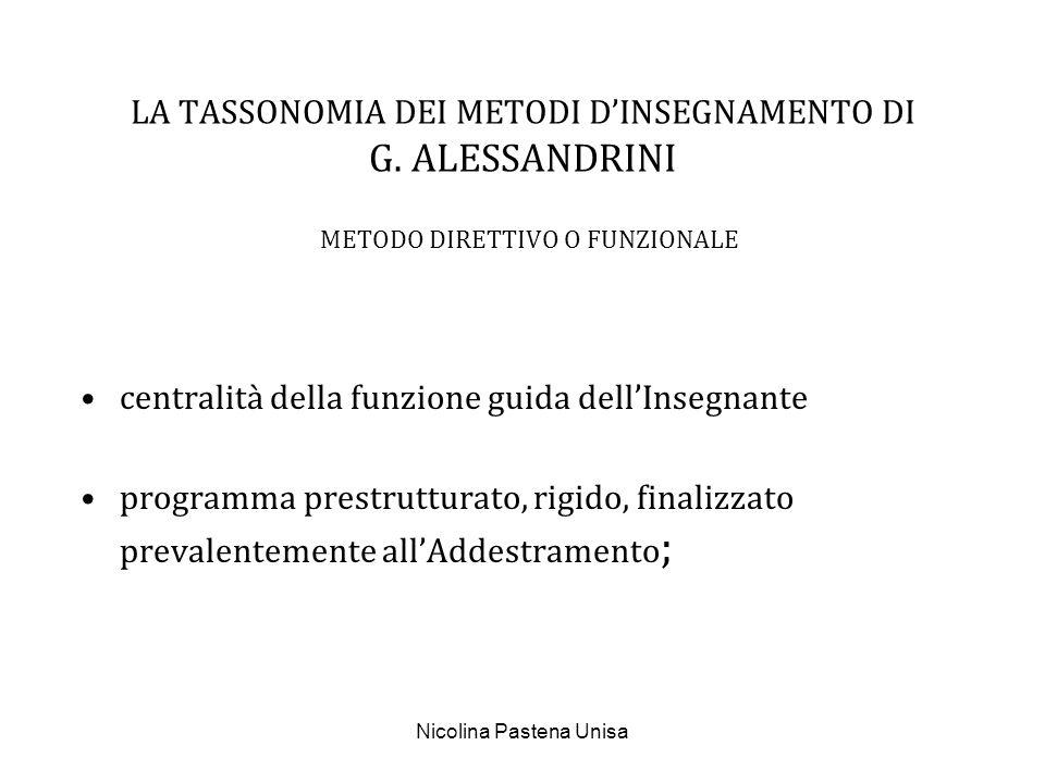 Nicolina Pastena Unisa METODO NON DIRETTIVO centrato sulla motivazione ad apprendere, finalizzato allAutorealizzazione del soggetto; attento alla qualità della relazione interpersonale (empatia, accettazione incondizionata, fiducia...