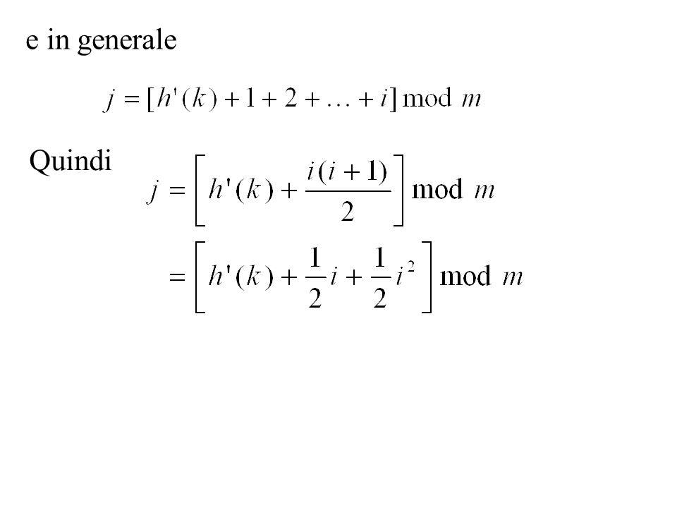 Doppio hash La funzione hash h(k,i) si ottiene da due funzione hash ordinarie h 1 (k) ed h 2 (k) ponendo Perché la sequenza di ispezione percorra tutta la tavola il valore di h 2 (k) deve essere relativamente primo con m (esercizio 11.4-3 del libro).