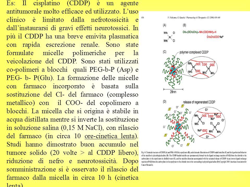 Liposomi Peghilati a)Discreti tempi di circolazione (t1/2= 48 h) b)Buona capacità nel controllare e rilasciare il farmaco c)Diverse formulazioni in commercio (Doxil, Ambisome, Visudyne etc.) d)Si conoscono effetti collaterali dati dalla somministrazione di liposomi pegilati; es hand- foot syndrome dopo somministrazione del DOXIL e)Del Doxil così come di altre formulazioni si conosce lefficacia terapeutica.
