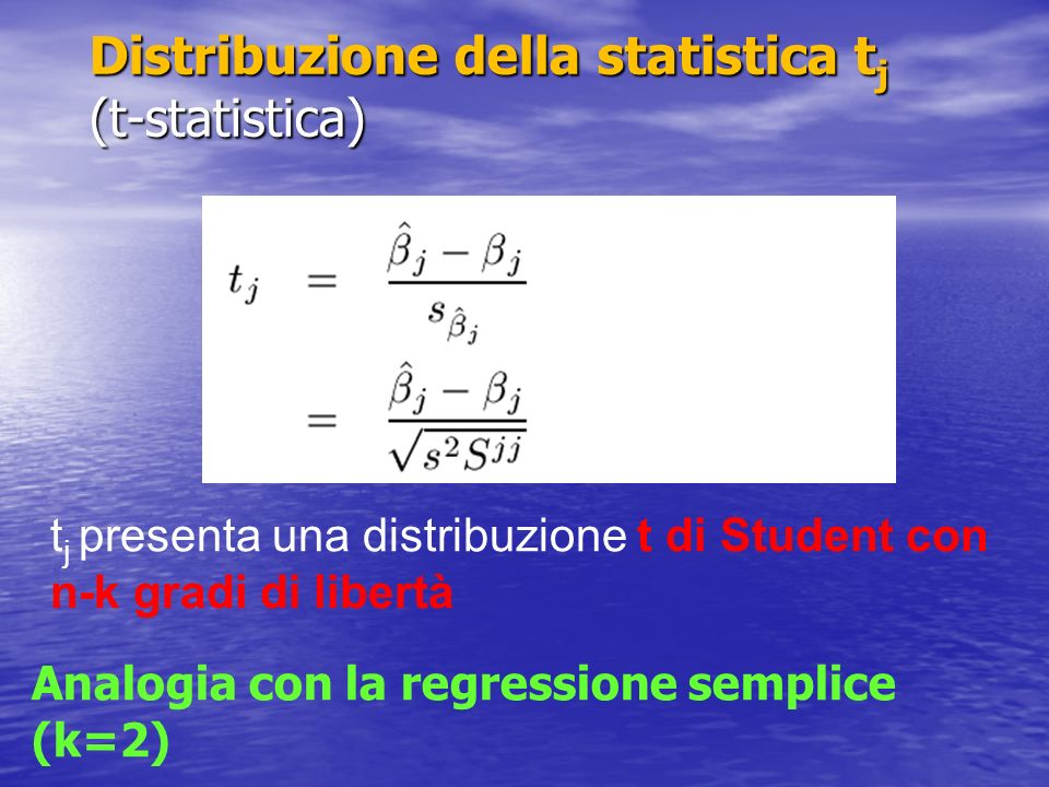Intervallo di confidenza per β j : Similmente per la verifica dellipotesi H 0 : β j = 0 Zone rifiuto/accettazione oppure calcolo p-value