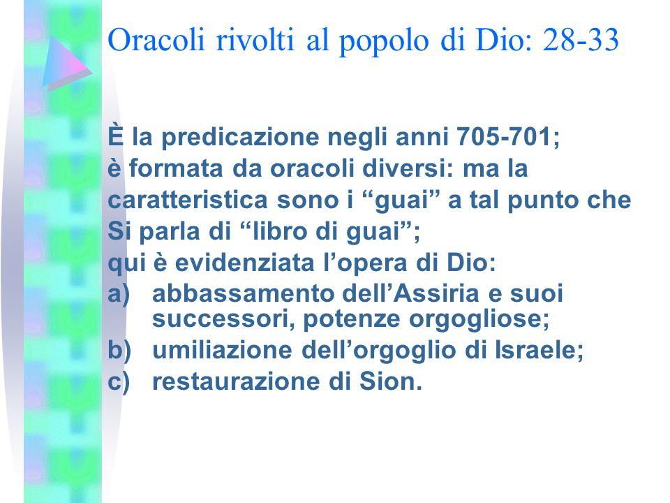 La piccola escatologia: 34-35 Sono 2 capitoli che costituiscono un dittico escatologico, con diversi elementi che si corrispondono: da una parte Jhwh si confronta con le nazioni pagane; dallaltra Israele popolo eletto è benedetto.