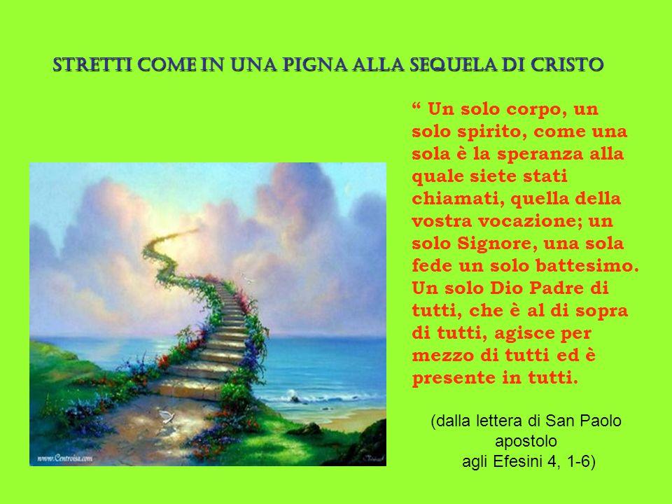 Un solo corpo, un solo spirito, come una sola è la speranza alla quale siete stati chiamati, quella della vostra vocazione; un solo Signore, una sola fede un solo battesimo.