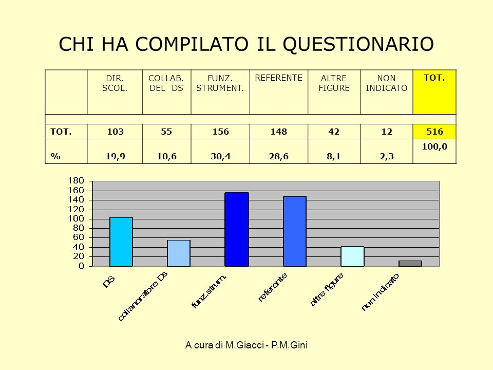 A cura di M.Giacci - P.M.Gini CHI HA COMPILATO IL QUESTIONARIO I dati per Provincia DIR.