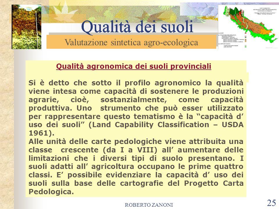 ROBERTO ZANONI 26 Qualità dei suoli Valutazione sintetica agro-ecologica Qualità dei suoli QUALITA AGRONOMICA