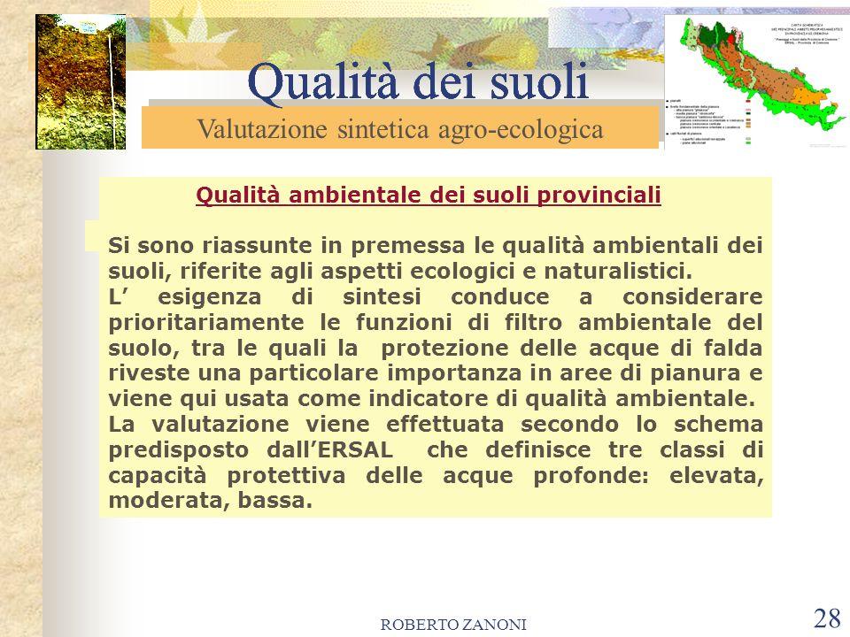 ROBERTO ZANONI 29 Qualità dei suoli Valutazione sintetica agro-ecologica Qualità dei suoli QUALITA AMBIENTALE