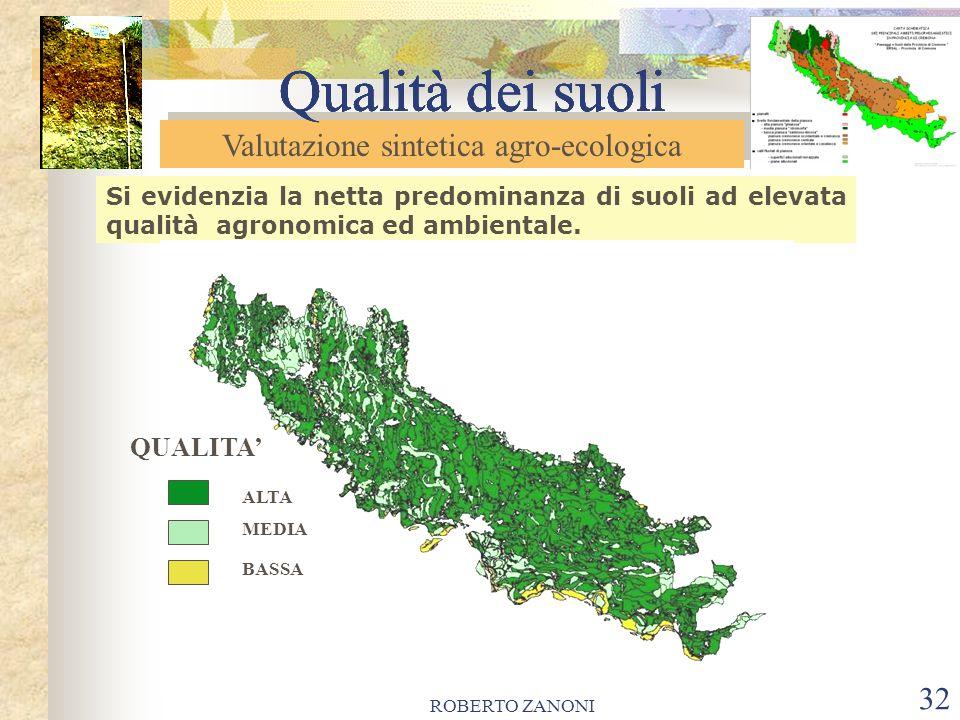 ROBERTO ZANONI 33 Qualità dei suoli *La netta predominanza di suoli ad elevata qualità agronomica ed ambientale, suggerisce la necessità di tutelare le risorse pedologiche provinciali.