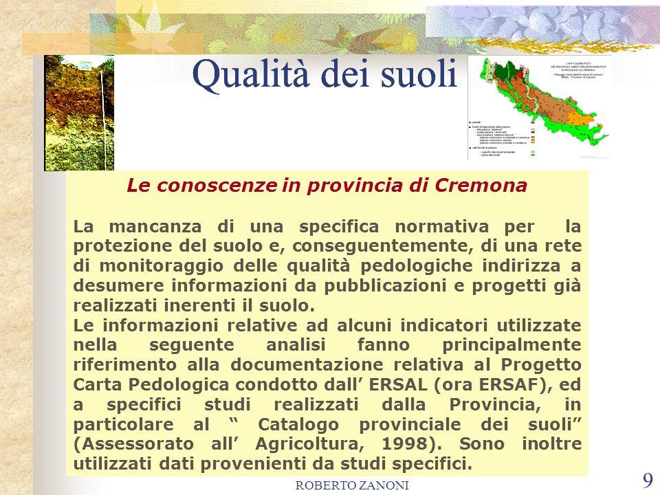 ROBERTO ZANONI 10 Qualità dei suoli E possibile effettuare una prima valutazione sulle problematiche relative alla tutela della qualità dei suoli cremonesi.