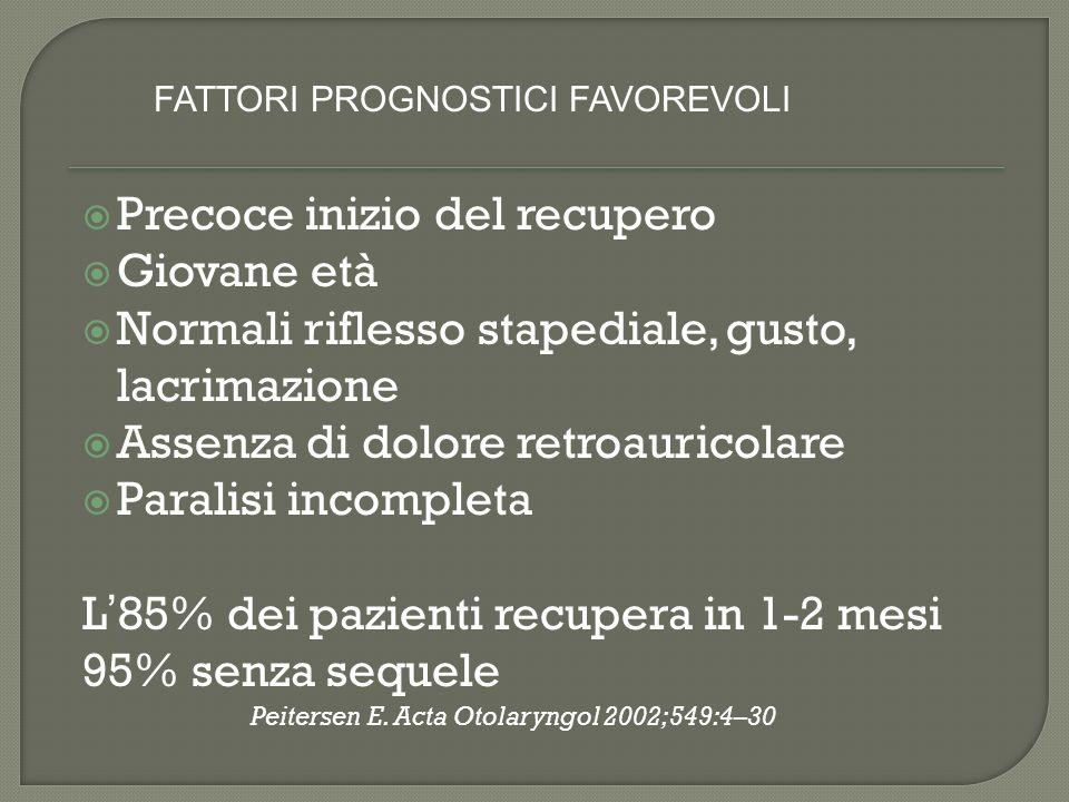 Paralisi di Bell in pazienti con Diabete Mellito 14% (Korczyn AD 71) 11,4 % (Adour KK.75) 39% (Pecket P.82) Il recupero funzionale è inferiore nei pazienti diabetici