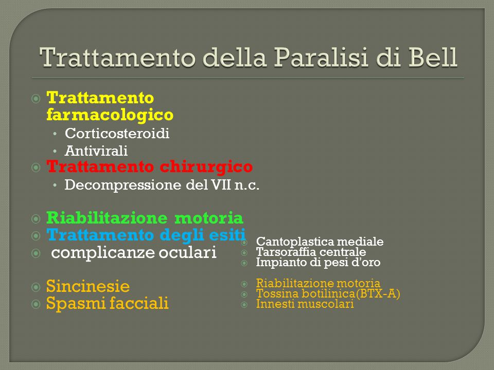 20 pazienti con BP classificati HB grading system 2 gruppi: FNP vs non riabilitazione valutazione con registazione di cMAP e HB grading system a 4,7,e 15 giorni dallesordio della paralisi Metodo Kabat: Falicitazione Neuromuscolare Propriocettiva Tecnica di facilitazione e riabilitazione neuro-muscolare basato sulla stimolazione dei propriocettori Barbara M,Antonini G,Vestri A,Volpini L,Monini S.Acta Otolaryngol.2010; 130(1):167-72.