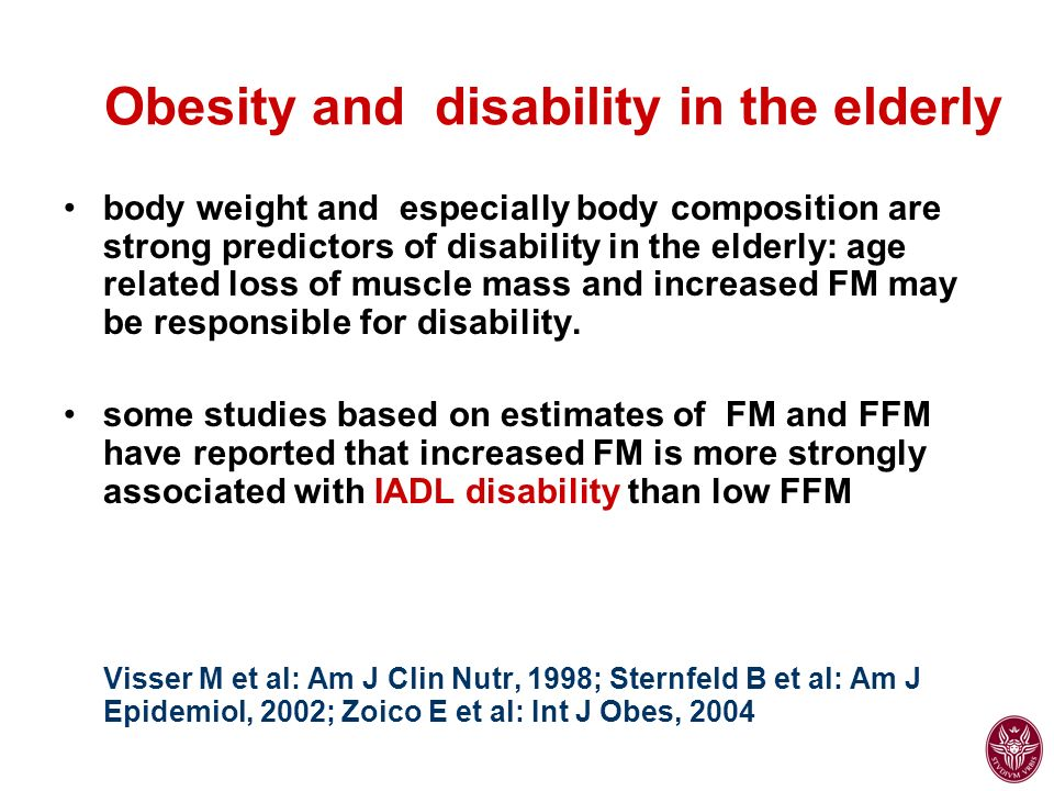 Compared with normal-weight people, both underweight and obese older adults reported impaired quality of life, particularly worse physical functioning and physical well-being Studies have consistently demonstrated associations between obesity and poorer health-related quality of life in the elderly Arterburn DE et al: JAGS, 2004