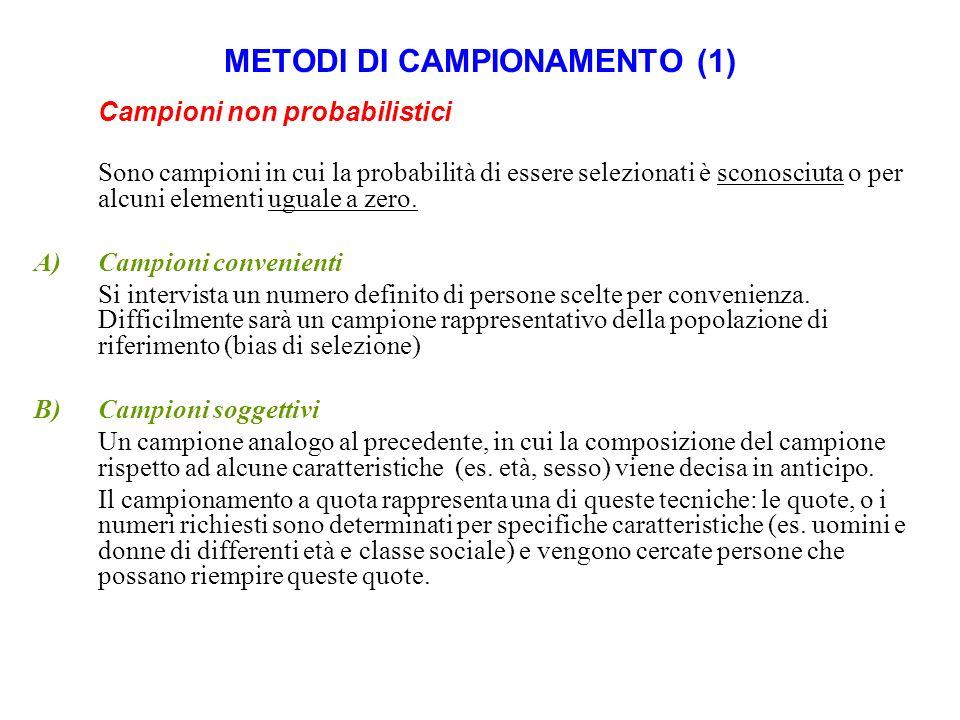 METODI DI CAMPIONAMENTO (2) Campioni probabilistici Ogni individuo della popolazione in studio (definito unità campionaria) ha una probabilità conosciuta di essere selezionato.
