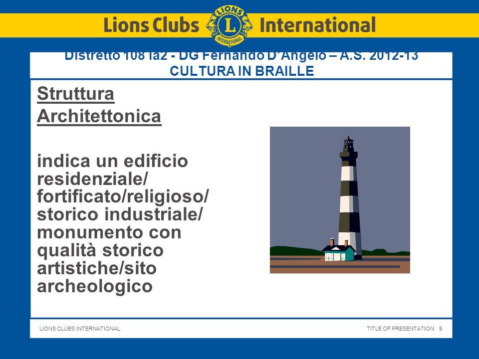 LIONS CLUBS INTERNATIONALTITLE OF PRESENTATION 10 Distretto 108 Ia2 - DG Fernando DAngelo – A.S.