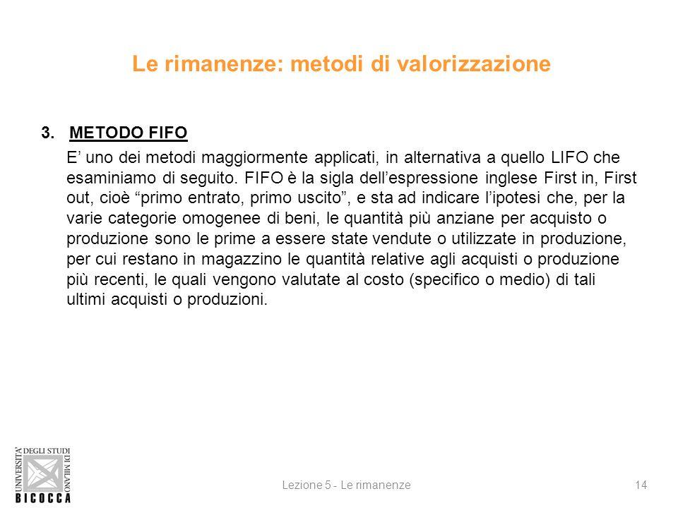 4.METODO LIFO E, come il metodo FIFO e in alternativa a questo, uno dei maggiormente adottato (e, inoltre il metodo normalmente previsto dalla disciplina fiscale.