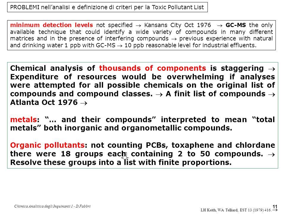 Chimica Analitica degli Inquinanti 1 - D.Fabbri 12 Criteria to prioritize and select representative compounds for each group.
