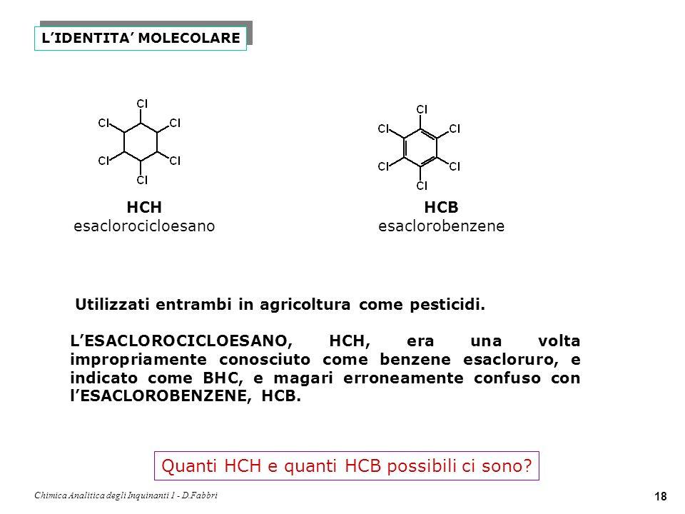 Chimica Analitica degli Inquinanti 1 - D.Fabbri 19 -HCH Fra tutti gli isoemri, solo il -HCH cioè il ()-HCH chiamato LINDANO ha proprietà insetticide.
