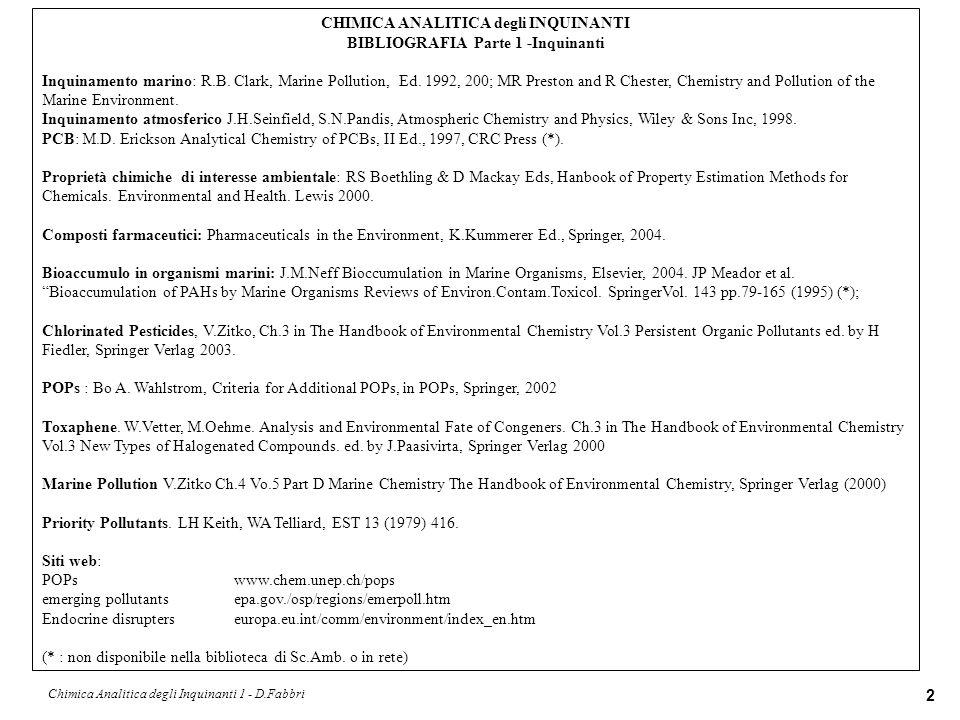 Chimica Analitica degli Inquinanti 1 - D.Fabbri 3 CHIMICA ANALITICA degli INQUINANTI BIBLIOGRAFIA Parte 1I - Chimica Analitica Chimica Analitica Strumentale (Contemporary Instrumental Analysis) K.A.