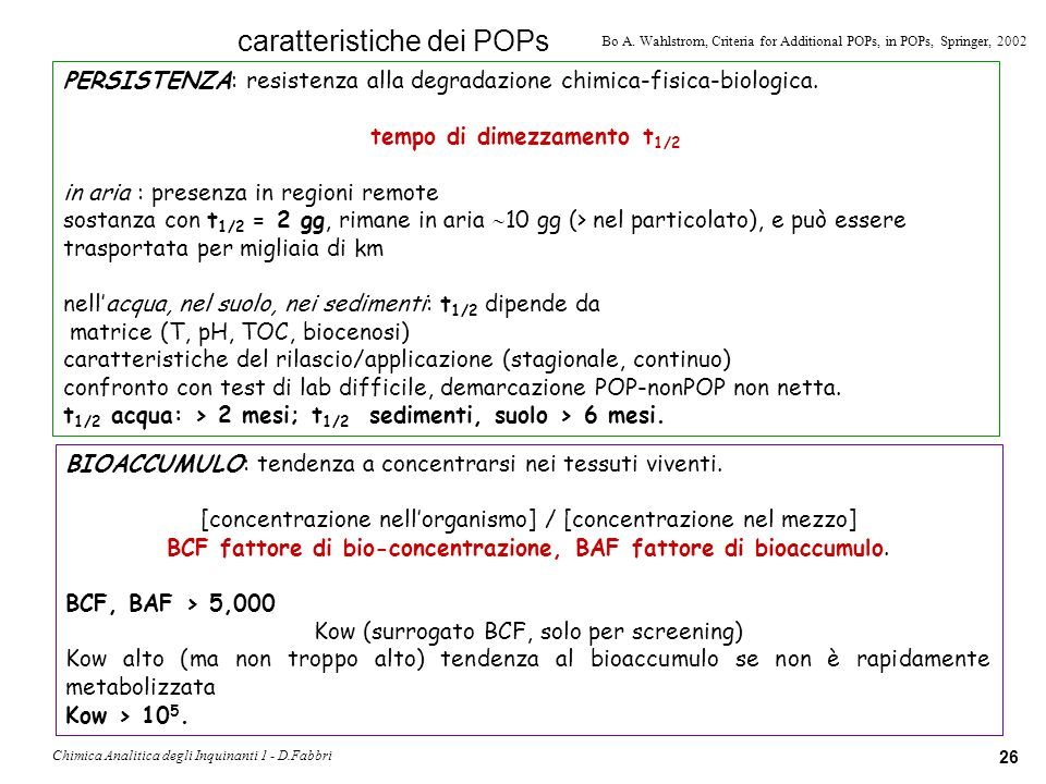 Chimica Analitica degli Inquinanti 1 - D.Fabbri 27 LONG-RANGE TRANSPORT: capacità di migrare per lunghe distanze dal punto dorigine.
