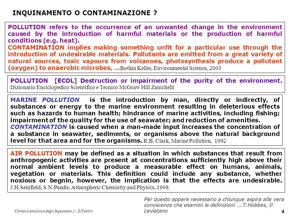 Chimica Analitica degli Inquinanti 1 - D.Fabbri 5 CONTAMINAZIONE o LIVELLO NATURALE .